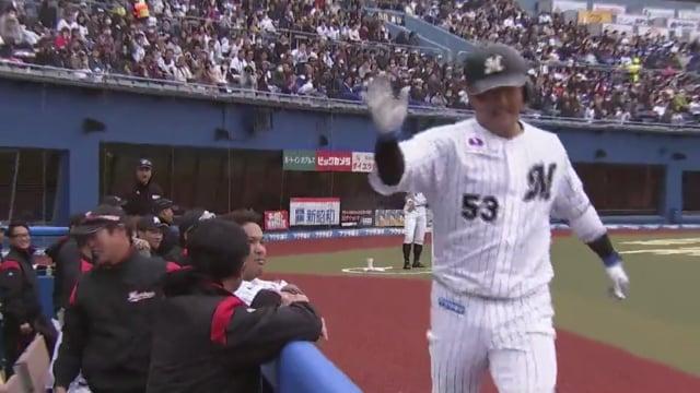 江村直也(ロッテ)がホームランラグーン弾1号を打つ!大阪桐蔭出身の捕手